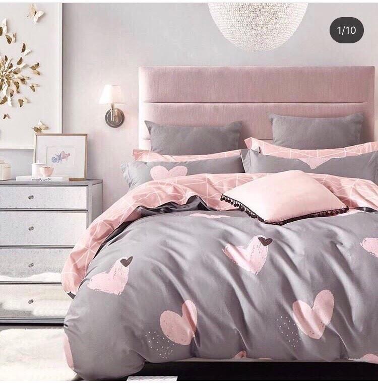 Комплект красивого і якісного постільної білизни сімейка, рожеве серце