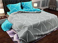 Комплект красивого и качественного постельного белья семейка, серо-бирюзовое
