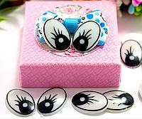 Глазки пластиковые для игрушек овальные 19*13 мм 10 штук черные с ресничками. Очі для іграшок круглі