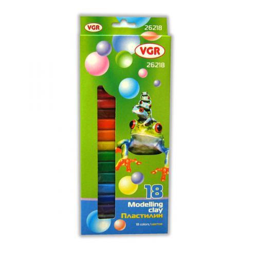 Пластилин VGR круглый 18 цветов, 300 грамм
