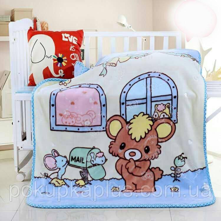 Детское одеяло в кроватку 100 x 110 Голубое 01963