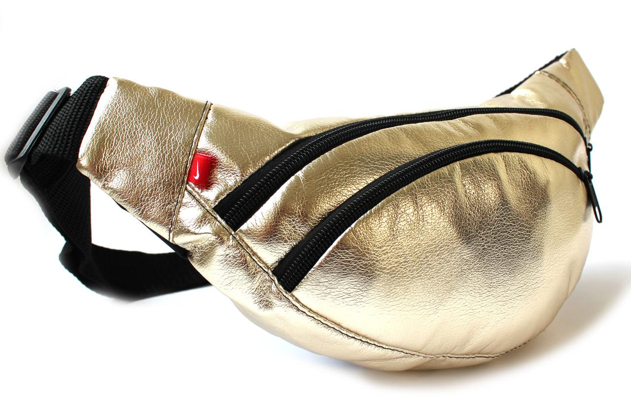 """Женская золотистая сумка -""""бананка"""" YR  В34"""