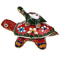 Шкатулка черепаха с чепешенком на спине - техника клуазоне 6.5х11х7 см красная (C1684), фото 1