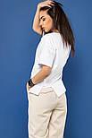 """Женская хлопковая футболка белая свободная с надписью и рисунком сердце """"Love yourself"""", фото 3"""