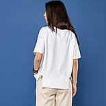 """Женская хлопковая футболка белая свободная с надписью и рисунком сердце """"Love yourself"""", фото 5"""