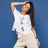 """Женская хлопковая футболка белая свободная с надписью и рисунком сердце """"Love yourself"""", фото 7"""