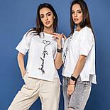 """Женская хлопковая футболка белая свободная с надписью и рисунком сердце """"Love yourself"""", фото 6"""