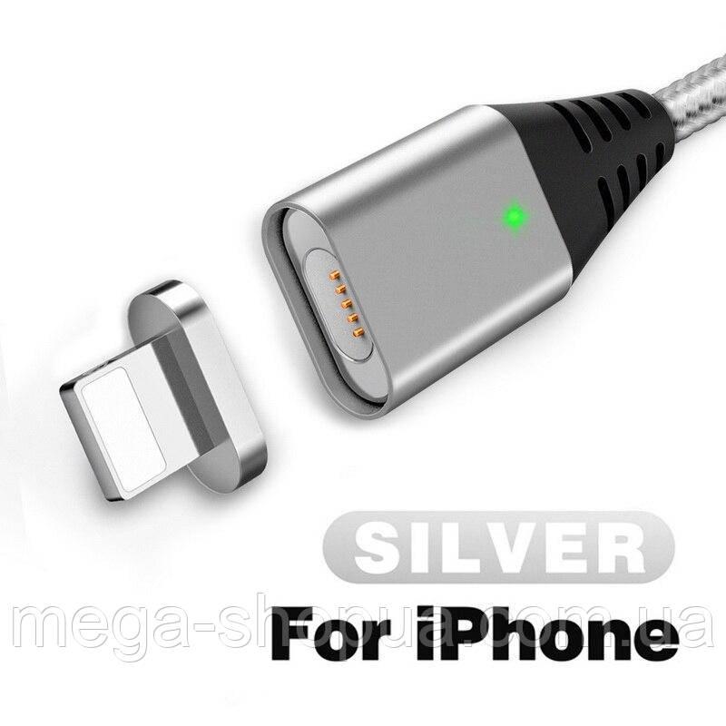 Магнитный кабель USB - Lightning для зарядки и передачи данных Серебристый 1 Метр