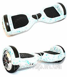Гироборд 6,5 дюймов Smart Balance Гироскутер Сигвей Цвет - Белый с Каплями полная комплектация