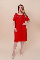 Женское платье батал с утяжкой на поясе красное. Турция. Размеры 46\54, 48\56, 50\58. Лето 2020, фото 1
