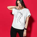 Женская хлопковая футболка белая свободная с надписью и рисунком, фото 4