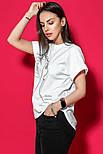 Женская хлопковая футболка белая свободная с надписью и рисунком, фото 3
