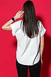 Женская хлопковая футболка белая свободная с надписью и рисунком, фото 5