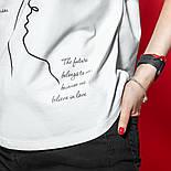 Женская хлопковая футболка белая свободная с надписью и рисунком, фото 6