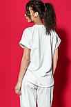 Женская хлопковая футболка белая свободная с надписью и рисунком, фото 8