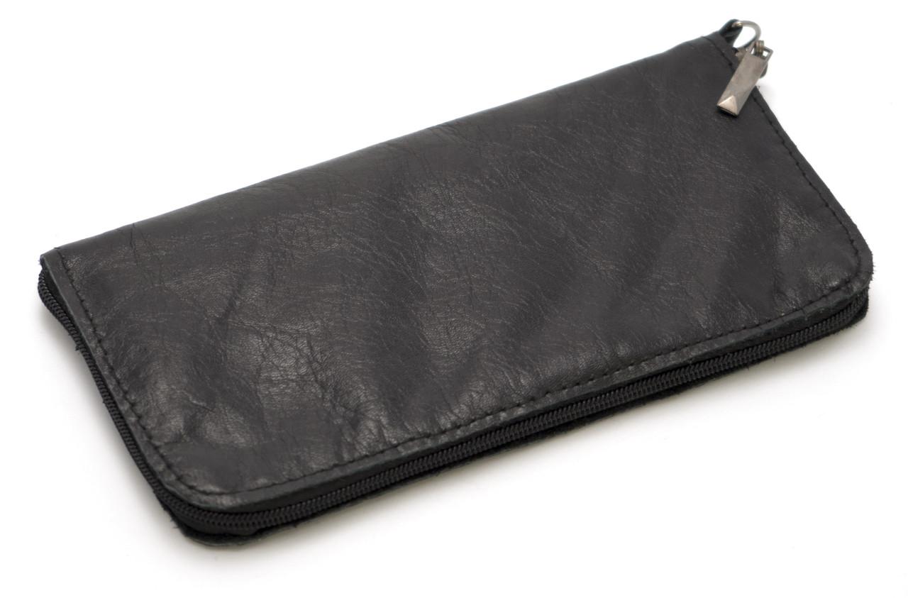 Зручний чорний чохол-футляр для телефону на блискавці шкіра