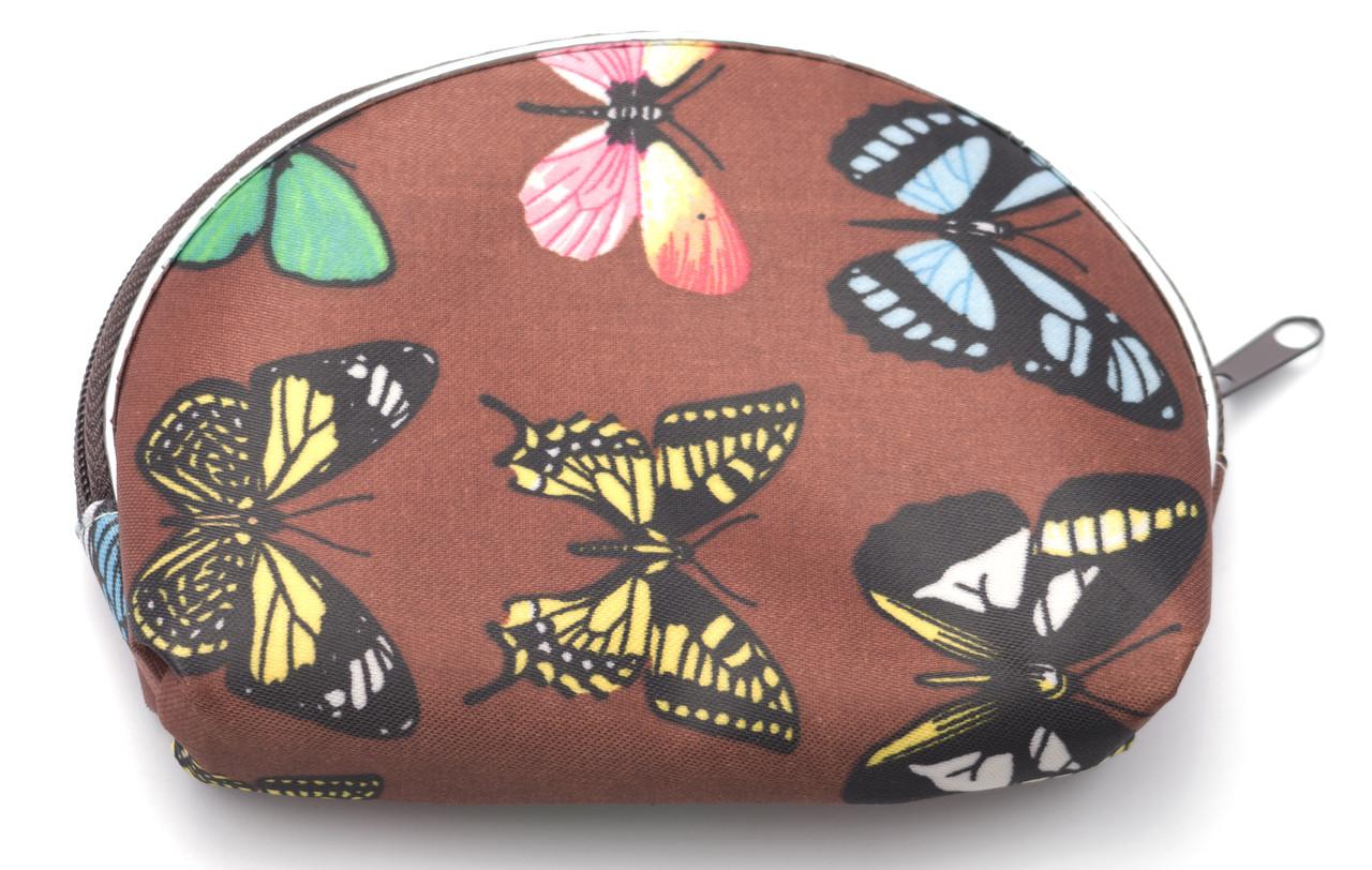 Коричнева жіноча косметичка з метеликами Б/Н art. 40CR № 3