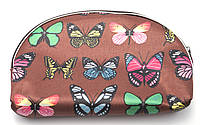 Коричнева жіноча косметичка з метеликами Б/Н art. 40CR № 1, фото 1