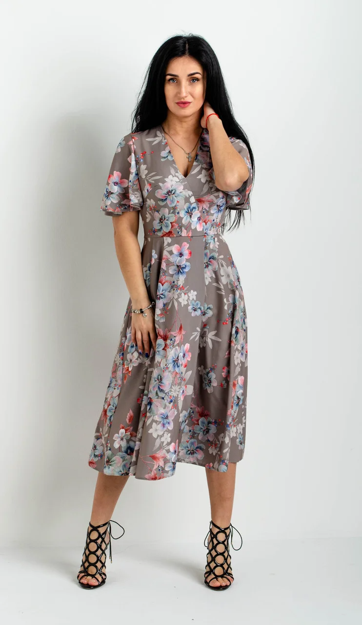 Платье женское летнее миди серого цвета с цветами