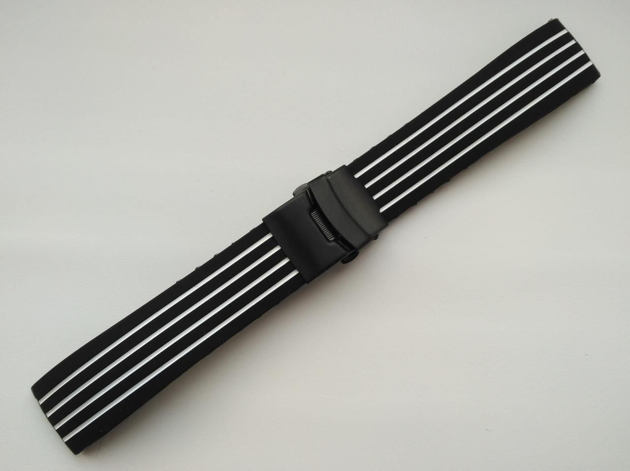 Каучуковый ремешок для часов. Черно-белый. 22 мм