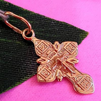 Золотий хрестик з розп'яттям і молитвою - Невеличкий золотий хрестик для хрещення