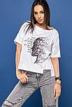Женская хлопковая футболка белая свободная с рисунком, фото 3