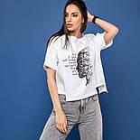 Женская хлопковая футболка белая свободная с рисунком, фото 2