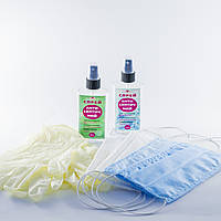 Маска защитная для лица (10шт), Перчатки латексн. (10пар), Антибактериальный косметический спрей для рук (2шт)
