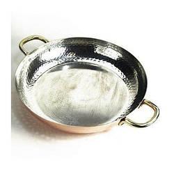 Мідна сковорода з бічними ручками діаметр 28 см