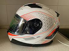 Мото шлем оригинал Европа закрытый бело-оранжевый  Naxa pro (Польша) сертифицирован, фото 2
