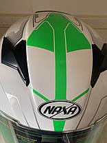 Мото шлем оригинал Европа закрытый бело-салатовый Naxa pro (Польша) сертифицирован, фото 2