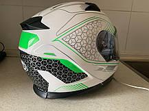 Мото шлем оригинал Европа закрытый бело-салатовый Naxa pro (Польша) сертифицирован, фото 3