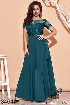 Короткое гипюровое платье с длинной съемной юбкой в комплекте с 42 по 52 размер