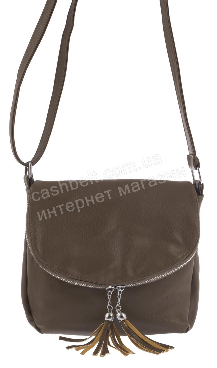 Стильна невелика жіноча наплічна сумка, Б/Н art. 0007 кава з молоком