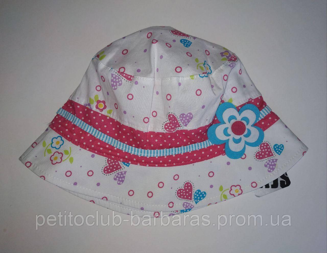 Детская летняя панамка для девочки Сердечки (AJS, Польша)