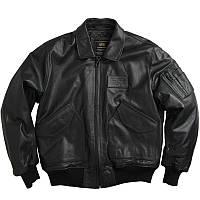 Кожаная лётная куртка Alpha Industries CWU 45/P MLC21001A1 (Black), фото 1