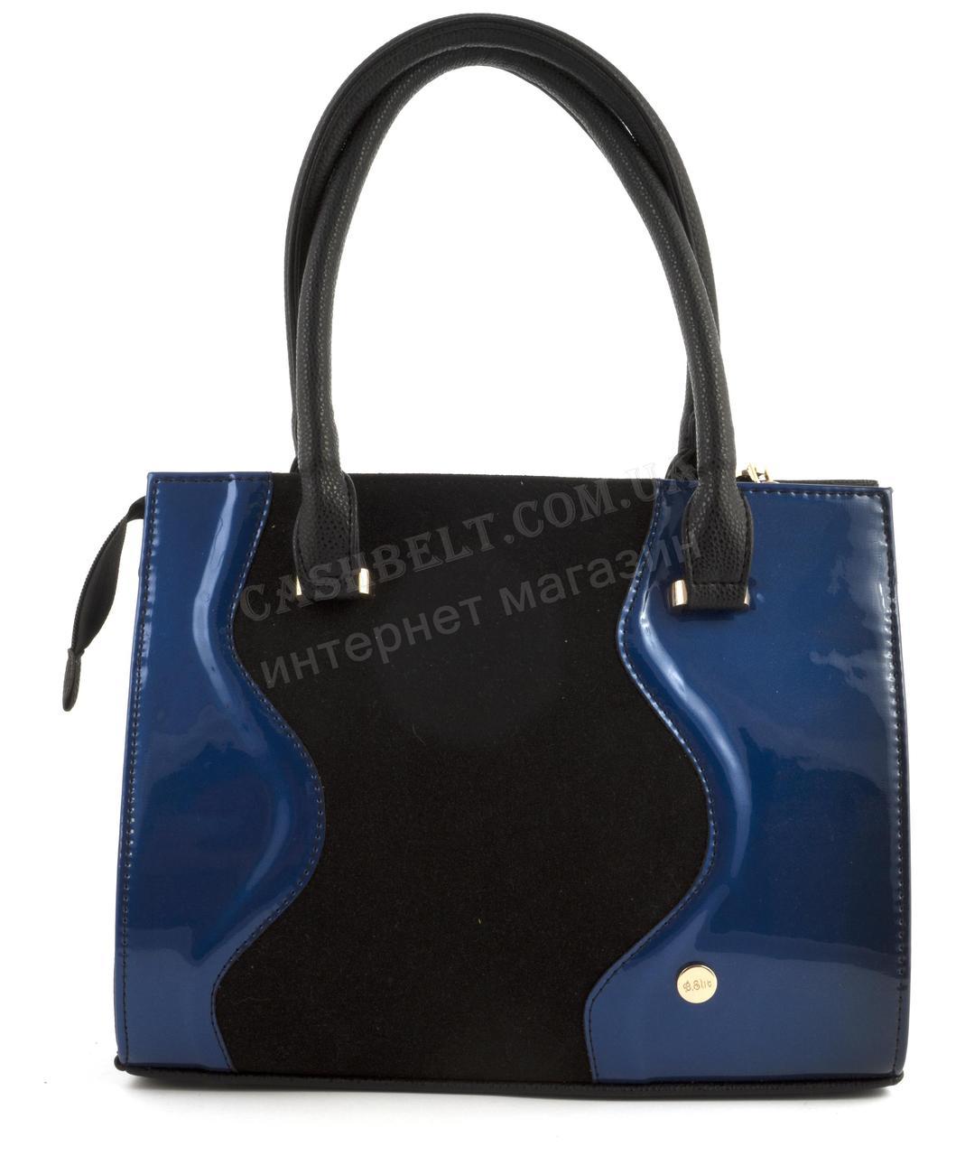 Оригінальна каркасна сумка з еко шкіри дуже високої якості лак/замш B. Elite art. 06-49 чорна/синя