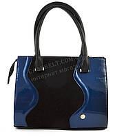 Оригінальна каркасна сумка з еко шкіри дуже високої якості лак/замш B. Elite art. 06-49 чорна/синя, фото 1