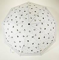 Женский стильный прочный зонтик автомат Frei REGEN art. 563 с белым куполом в черные сердечки (101333), фото 1