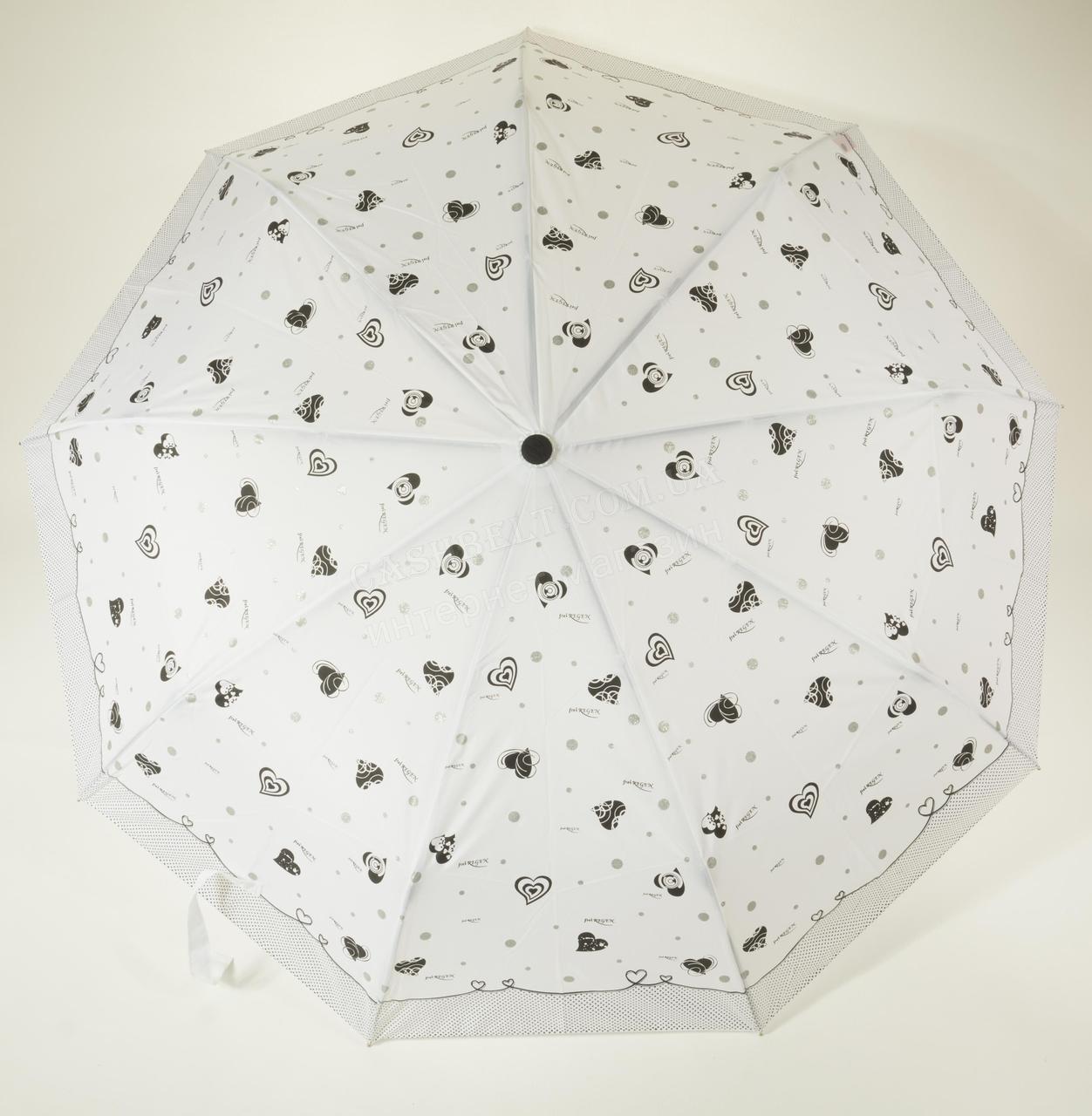 Женский стильный прочный зонтик автомат Frei REGEN art. 563 с белым куполом в черные сердечки (101333)