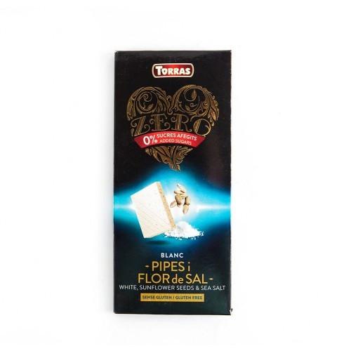 Шоколад белый без сахара Torras ZERO с семечками подсолнуха и морской солью Испания 125г