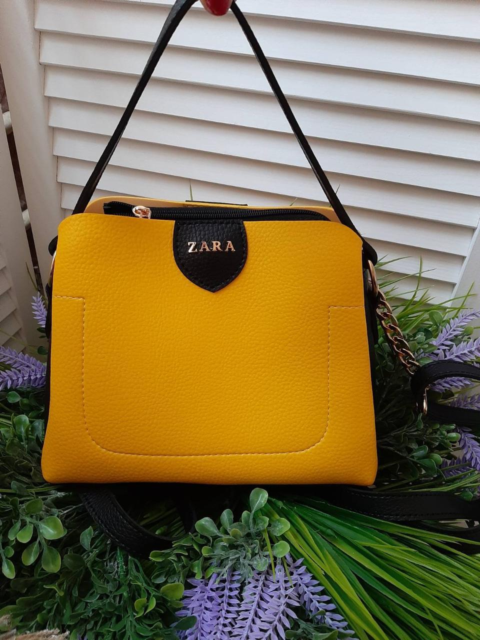 Маленькая желтая женская сумка небольшая классическая сумочка через плечо кожзам
