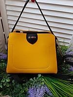 Маленькая желтая женская сумка небольшая классическая сумочка через плечо кожзам, фото 1