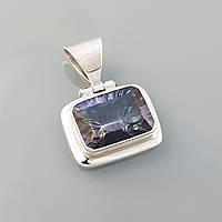 Кулон с мистик топазом серебряный  лондон топаз подвеска прямоугольная