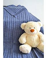 Дитячий в'язаний плед Прованс синій 90х130 ПРО011681