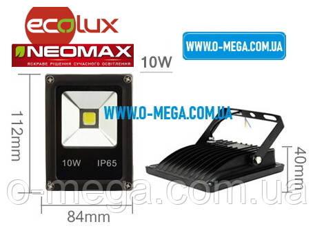 Светодиодный LED-прожектор Neomax (Ecolux) 10W, 220V, 6000K, 800Lm, IP65