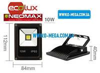 Светодиодный LED-прожектор Neomax (Ecolux) 10W, 220V, 6000K, 800Lm, IP65, фото 1