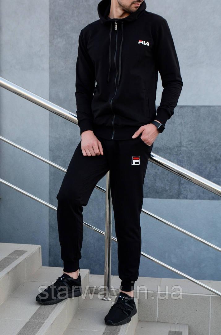 Чорний спортивний костюм на блискавці з капюшоном в стилі Fila