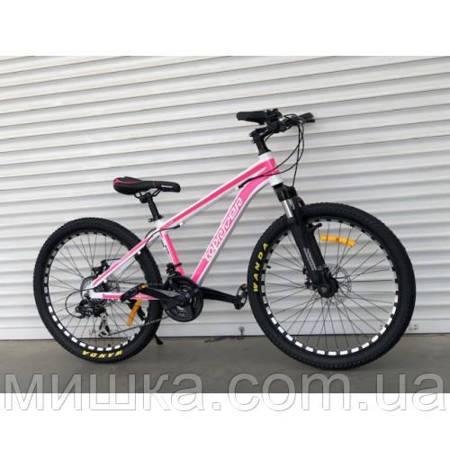 """Велосипед алюминиевый горный TopRider-680 24"""" бело-розовый"""