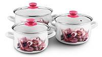 Набор кастрюль эмалированных 3 шт Pink Орхидея 5/L «Розовая орхидея» Zauberg